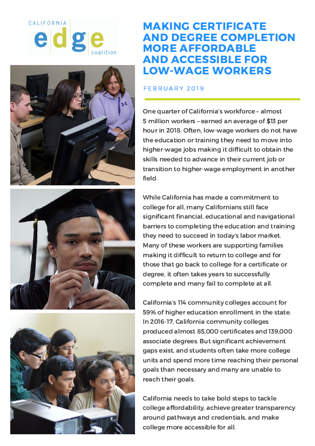 California EDGE publication cover -Making Certificate and Degree Completion More Affordable and Accessible for Low-Wage Workers