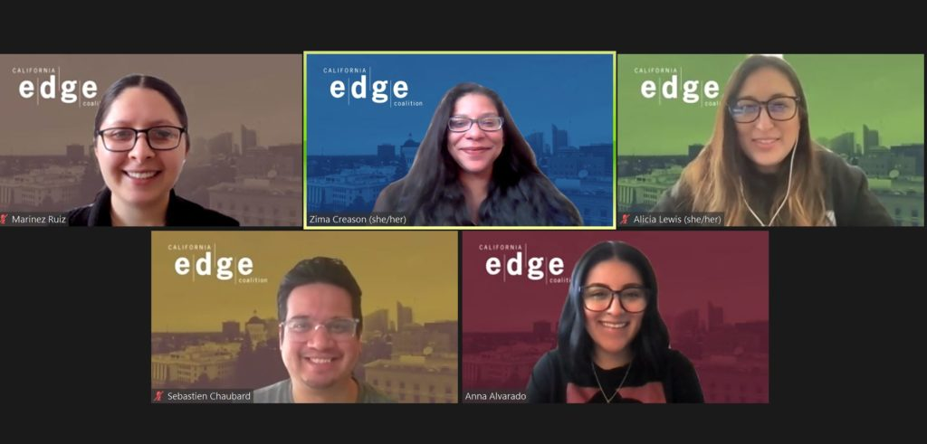 Zoom screenshot of California EDGE coalition staff