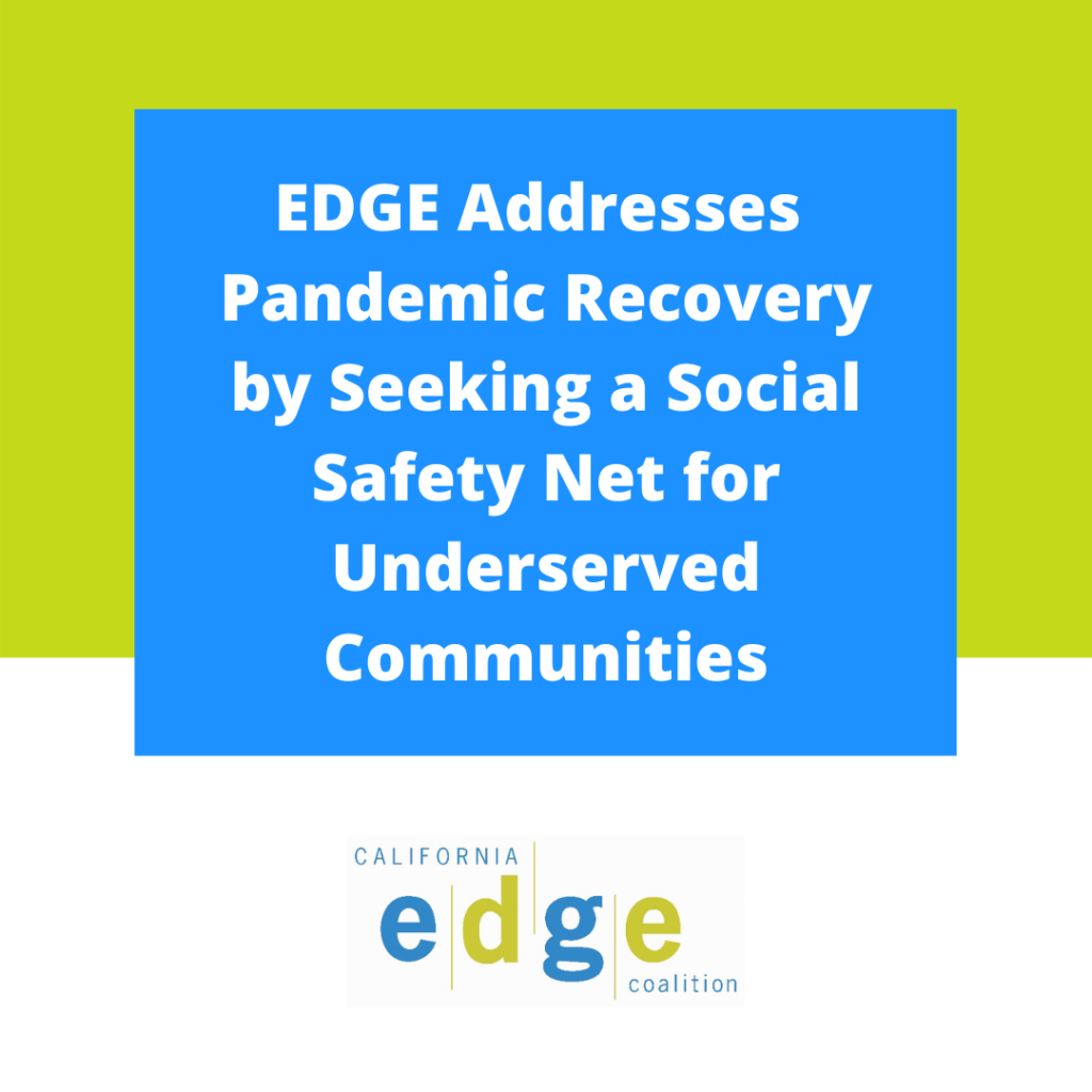 """Title slide for """"EDGE Addresses Pandemic Recovery by Seeking a Social Safety Net for Underserved Communities"""""""